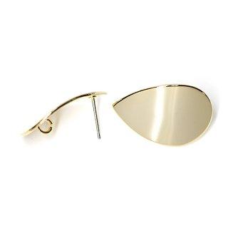 【1ペア】チタン芯!光沢ゴールド約25mm曲線しずく形カン付きピアス、パーツ
