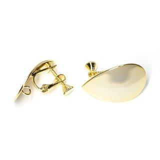 【1ペア】ネジバネ&カン付き!光沢ゴールド約25mm曲線しずく形イヤリング、金具