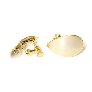 【1ペア】ネジバネ&カン付き!マッドゴールド約25mm曲線しずく形イヤリング、金具