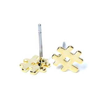 【1ペア】チタン芯!キュートでユニークな#モチーフの光沢ゴールドピアス、パーツ