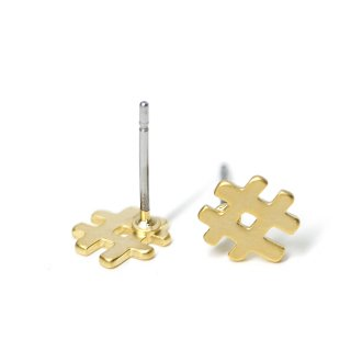 【1ペア】チタン芯!キュートでユニークな#モチーフのマッドゴールドピアス、パーツ