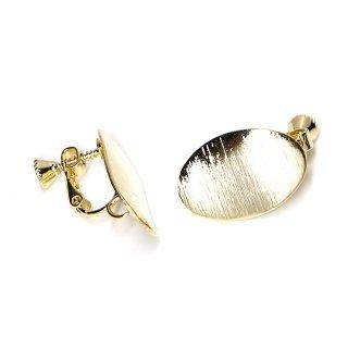 【1ペア】曲線の楕円形光沢ゴールドネジバネ&カン付きイヤリング、パーツ