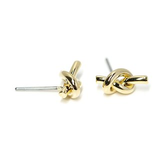 【1ペア】チタン芯!約11mm Petit Knot 光沢ゴールドピアス、パーツ
