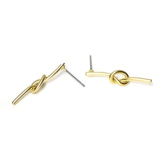 【1ペア】チタン芯!約25mm Slim Knot マッドゴールドピアス、パーツ