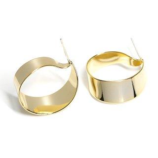 【1ペア】純正SV925芯!左右ある光沢ゴールド約22mm優美な優美なRibbon曲線ピアス、パーツ