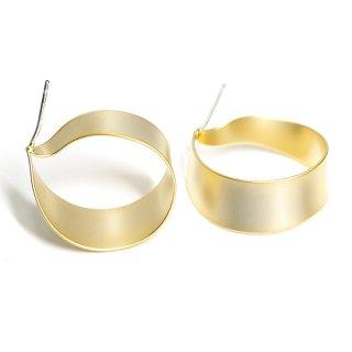 【1ペア】純正SV925芯!左右あるマッドゴールド約22mm優美な優美なRibbon曲線ピアス、パーツ