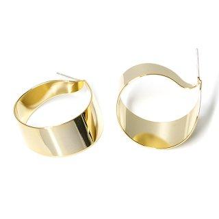 【1ペア】純正SV925芯!左右ある光沢ゴールド約29mm優美な優美なRibbon曲線ピアス、パーツ