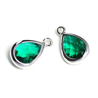 【2個入り】EmeraldカラーガラスTiny Drop形シルバーチャーム