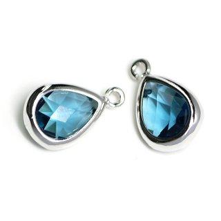 【2個入り】Royal BlueカラーガラスTiny Drop形シルバーチャーム