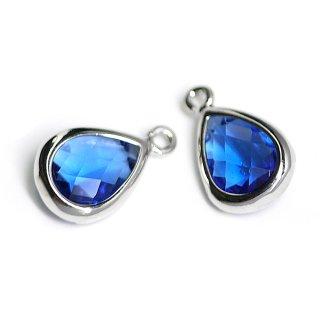 【2個入り】Blue SapphireカラーガラスTiny Drop形シルバーチャーム