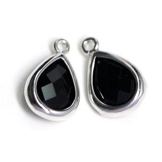 【2個入り】Onyx BlackカラーガラスTiny Drop形シルバーチャーム