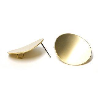 【1ペア】チタン芯!マッドゴールド22mmオーバル形カン付きチタン芯ピアス