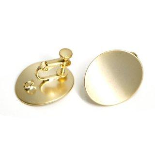 【1ペア】マッドゴールド22mmオーバル形ネジバネ&カン付きイヤリング、パーツ