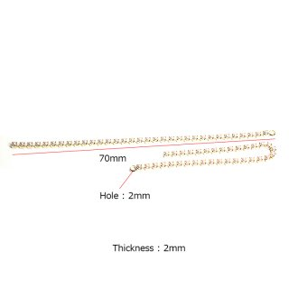 【4個入り】約70mm Pearl Chain 厚み約2mmゴールドチェーンチャーム、パーツ