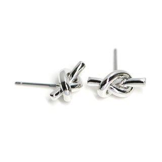 【1ペア】チタン芯!約13mm Knot 光沢シルバーピアス、パーツ