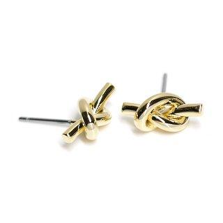 【1ペア】チタン芯!約13mm Knot 光沢ゴールドピアス、パーツ
