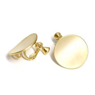 【1ペア】マッドゴールド約20mm曲線サークル形ネジバネ&カン付きイヤリング