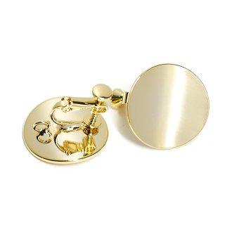 【1ペア】光沢ゴールド約20mm曲線サークル形ネジバネ&カン付きイヤリング