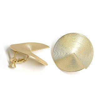 【1ペア】左右!立体感ある約30mm 連輪サークル形マッドゴールドネジバネイヤリング、パーツ