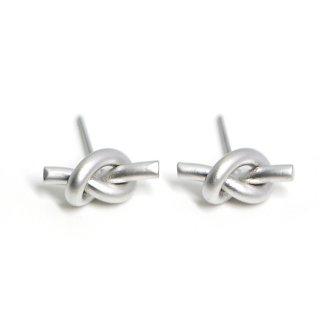 【1ペア】チタン芯!約13mm Knot マットシルバーピアス、パーツ