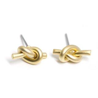 【1ペア】チタン芯!約13mm Knot マットゴールドピアス、パーツ