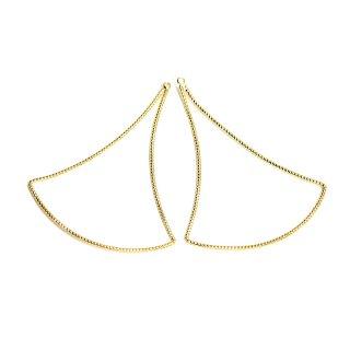 【2個入り】華奢で揺れるような大ぶりSwing Drop Triangleマットゴールドチャーム、ペンダント