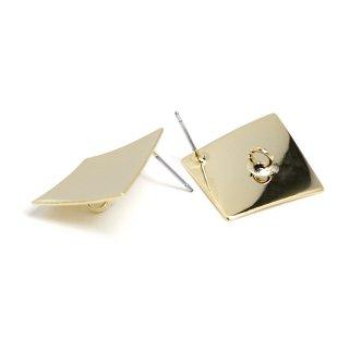 【1ペア】チタン芯!光沢ゴールド約18mm曲線スクエア形カン付きピアス、パーツ