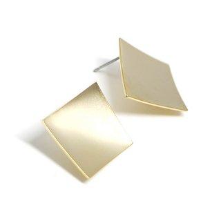 【1ペア】チタン芯!マットゴールド約18mm曲線スクエア形カン付きピアス、パーツ