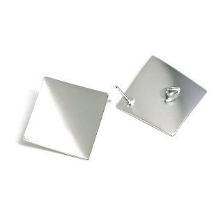 【1ペア】チタン芯!マットシルバー約18mm曲線スクエア形カン付きピアス、パーツ