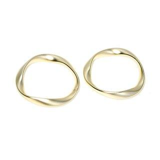 【2個入り】大ぶりメビウスの輪〜約23mmマットゴールドチャーム、パーツ