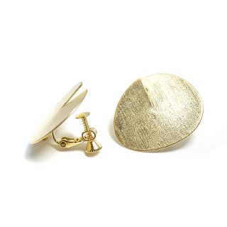 【1ペア】質感ある立体&ふっくらとした円形マットゴールドネジバネ&カン付きイヤリング、パーツ