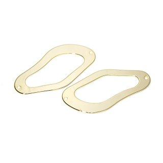 【2個入り】両穴!約42mm 不規則な曲線の光沢ゴールドコネクター、チャーム