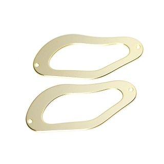 【2個入り】両穴!約42mm 不規則な曲線のマットゴールドコネクター、チャーム