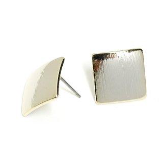 【1ペア】チタン芯!シンプル13mmスクエア形光沢ゴールドピアス、パーツ
