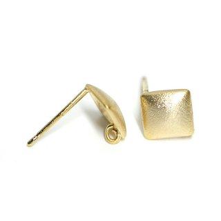 【1ペア】925芯!カン付き質感あるマットゴールドLUXU Simpleスクエア形シルバー925芯ピアス、パーツ