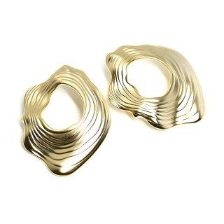 【1ペア】チタン芯!マットゴールド大ぶりで不規則なShellモチーフのピアス、パーツ