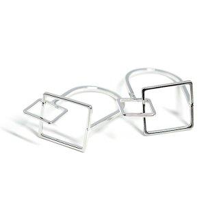 【2個入り】立体的なDUO Square光沢シルバーリング、パーツ