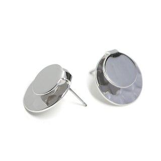 【1ペア】チタン芯!パーツを挟んで使える円形光沢シルバーピアス、パーツ