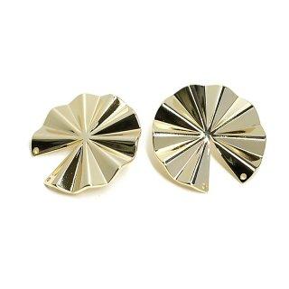 【1ペア】チタン芯!パーツを繋いで使う約30mm円形光沢ゴールドピアス、パーツ