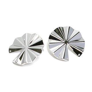 【1ペア】チタン芯!パーツを繋いで使う約30mm円形光沢シルバーピアス、パーツ