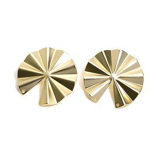 【1ペア】チタン芯!パーツを繋いで使う約30mm円形マットゴールドピアス、パーツ
