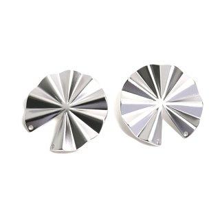 【1ペア】チタン芯!パーツを繋いで使う約30mm円形マットシルバーピアス、パーツ