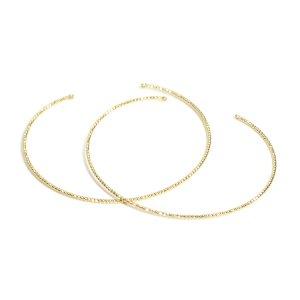 【2個入り】両カン付き!華奢なツイストの光沢ゴールド約1.3mmバングル、ブレスレット