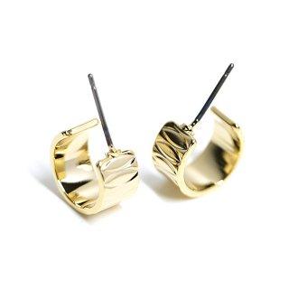 【1ペア】オーバル模様入りの約12mm光沢ゴールドチタン芯フープピアス、パーツ
