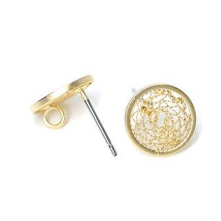 【1ペア】チタン芯!繊細な10mmSilky 円形マットゴールドカン付きピアス、パーツ