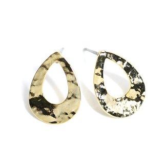 【1ペア】チタン芯!凹凸感あるドロップ形の光沢ゴールドピアス、パーツ