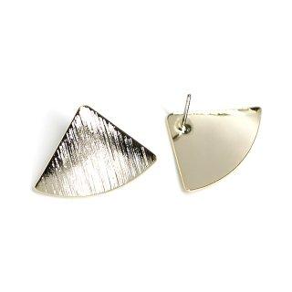 【1ペア】光沢ゴールド!質感あるカーブ三角形チタン芯ピアス、パーツ