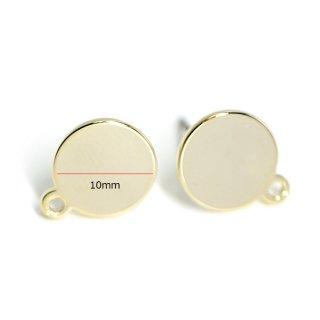 【4個入り】ニッケルフリー&チタン芯!光沢ゴールド10mm円形カン付きピアス、パーツ