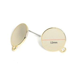 【4個入り】ニッケルフリー&チタン芯!光沢ゴールド12mm円形カン付きピアス、パーツ