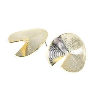 【1ペア】左右&チタン芯!立体感ある約30mm 連輪サークル形光沢ゴールドピアス、パーツ